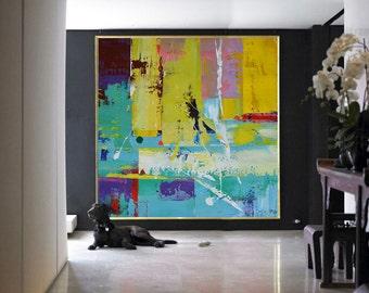 Handmade Large Contemporary Art Canvas Painting, Original Art Acrylic Painting, Abstract Canvas Art. Yellow, Green, Purple, Blue...