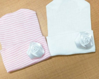 Newborn Hospital Hat w/ Handmade White Flower. Choice of Hat Color. Baby's 1st Keepsake. Great Gift. Infant Outfit