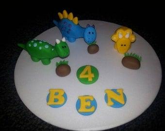 Edible handmade dinosaur birthday cake topper decoration