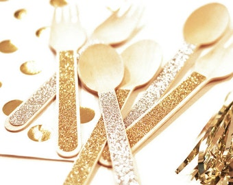 Glitter Silverware (Spoons & or Forks) (set of 24)