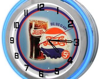 Vintage Pepsi Blue Double Neon Clock