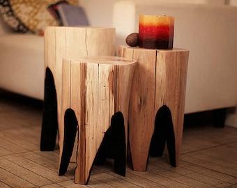 Tree stump table (SET OF 3), reclaimed wood, husband gift, side table, wood furniture rustic, coffee table, wooden furniture, wood log