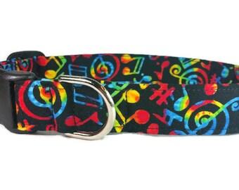 Multi-Color Music Notes Dog Collar * Cat Collar * Martingale Collar * Buckle Collar * Chain Martingale * Breakaway Cat Collar