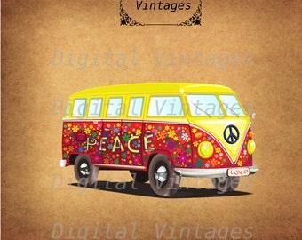 Hippie Bus Volkswagon VW Color llustration Vintage Antique Digital Image Graphic Download Printable Graphic Clip Art Prints HQ 300dpi