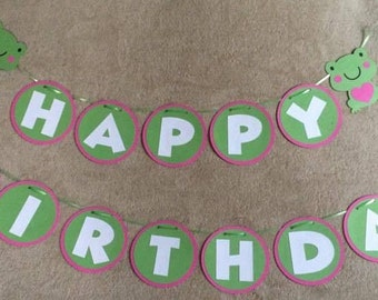 Girls Frog Happy Birthday Banner. Can be personalized with name and/or age. Free Shipping in US