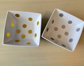 Gold or Silver Polka Dot Jewelry Dish
