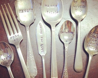 Hand stamped antique silver cutlery
