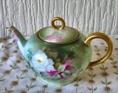 "VinAntique Hand Painted ""Thomas"" Floral Porcelain Tea for Two Tea Pot Bavaria Signed O Wilke   WORLD WIDE SHIPPING"