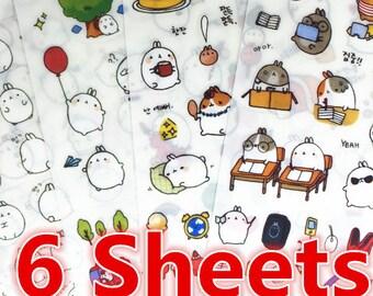 6 Sheets, Cute Sticker, Deco Sticker, Korean Sticker