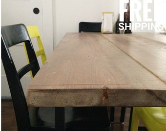 Reclaimed Wood Dining Table   Recycled Metal Legs   Industrial Decor   Free Shipping