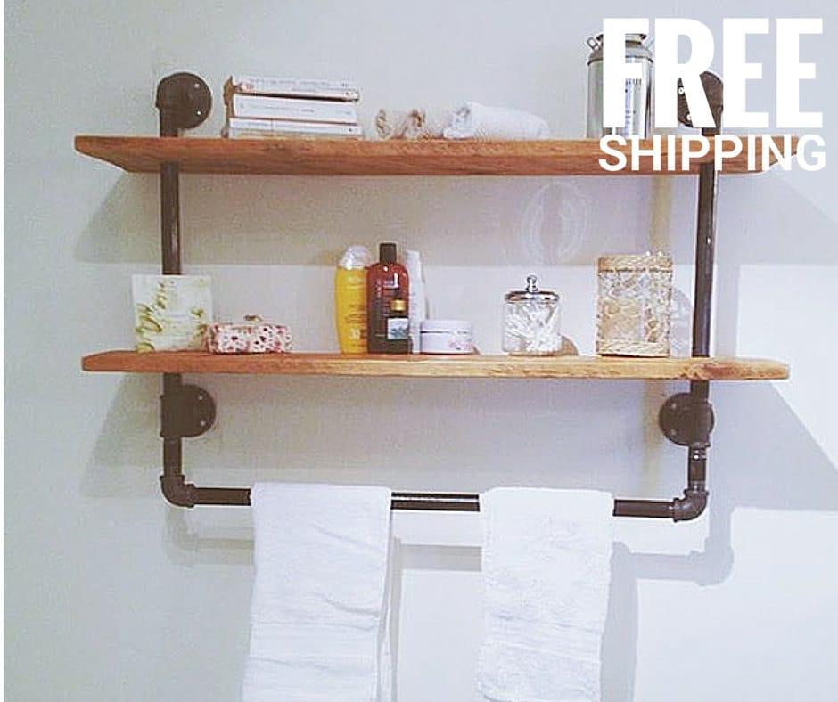 industrial pipe shelving unit urban wood reclaimed shelf. Black Bedroom Furniture Sets. Home Design Ideas