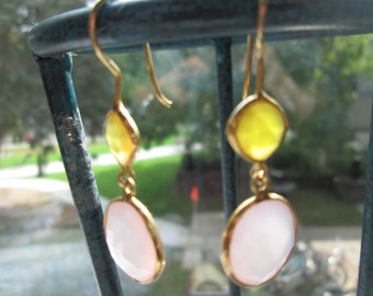 Handcrafted Victorian 10.00ctw Multi-Color Chalcedony Sterling Silver-Dangle Earrings Weight 5.1