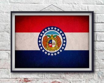 Missouri Flag Print, Missouri Poster,  Missouri Flag Art, Missouri Art Print, Wall Art, Wall Decor, State Poster, Home [PP027-P]