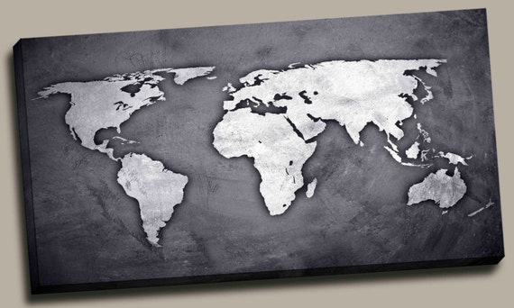 Silver black world map canvas print wall decor world map silver black world map canvas print wall decor world map canvas print world map art decor large wall art gift idea pxwm03 c gumiabroncs Gallery