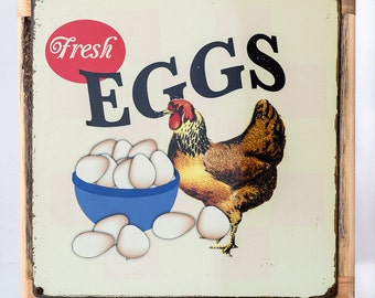 Framed Fresh Eggs Metal Sign, Country Decor, Home Decor, Chickens, Coop Décor, HB7500F