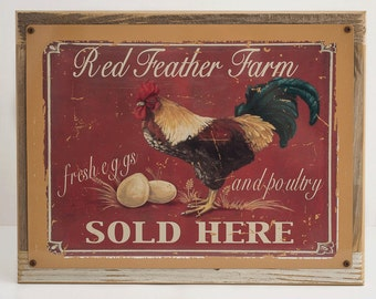 Framed Red Feather Farm Metal Sign,  Eggs,Country  Kitchen, Café, 20278F