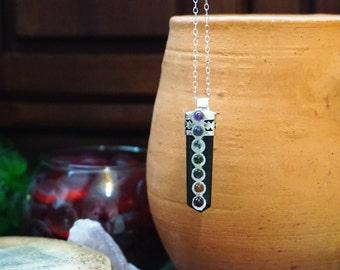 Black Agate Pencil Point Tibetan Pendant. Seven Chakra Gemstone Pendant,Silver Plated Chain,Layered Necklace,Unisex Jewelry