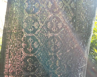 Vintage silver and black fabric with silver tapestry design in good condition