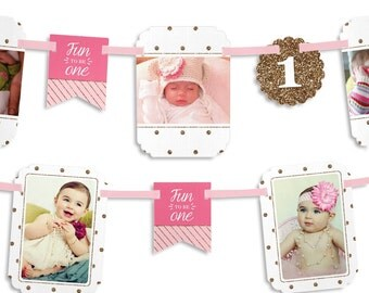 Fun to be One - 1st Birthday Girl Party Photo Garland Banner - Custom Birthday Party Decorations
