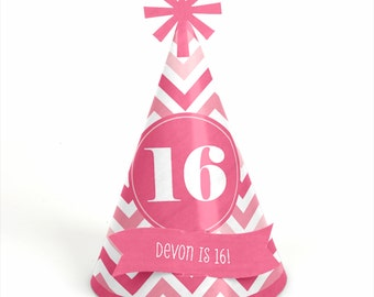 8 Chevron Pink Birthday Party Hats - Personalized Birthday Party Supplies - Set of 8