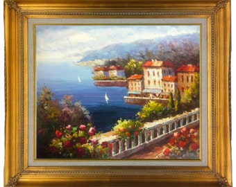 24 X 20  Italian Coast Portofino Mediterranean Ocean seascape with Sailboats Original Oil Painting stretched only or Framed  Gold or Copper