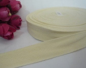 10y / 9 mt Candle Light / Light Cream Yellow Cotton Herringbone Ribbon Twill Tape Binding Tape Weave Tape 3/4 inch / 19mm width TR42
