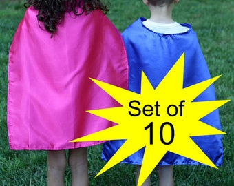 Wholesale SUPER HERO CAPES - Set of 10 Super Hero Capes - Plain Super Hero Capes - Super Hero Capes for Parties - Wholesale Super Hero Capes
