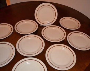 SET of 10 - Buffalo China Cafe - Bread Butter Plate - Tan with Rust Brown Band - Made in USA 1948 - Vintage Restaurant Ware - Railroad China