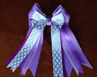 Equestrian Hair Bows for English Horse Shows/Purple/Silver/White/Feminine & Specially Beautiful