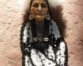 Eagle feathers warrior native American inspired beadwork by Beadworkdreamsraven. Laura mears cabochon