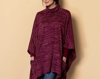 Butterick Sewing Pattern B6252 Misses' Cowl-Neck Ponchos