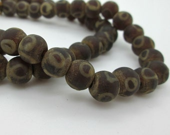 Rustic Dark Brown Glass Round Beads with Dot, Old Ethnic Beads from Nepal, 8-10mm (6)