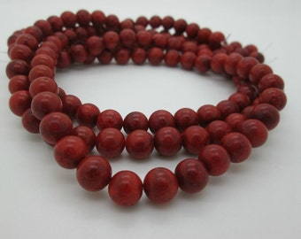 Red Orange Sponge Coral Round Beads, 8mm, 1/2 strand