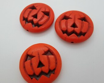 Jack O Lantern Pendant, Pumpkin Bead, Orange Stone Pumpkin 25mm, Halloween Pumpkin