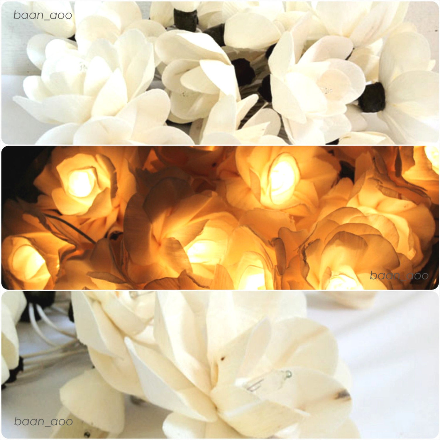 Argos Flower String Lights : White Rose flower string fairy lights home decor wedding party