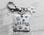 Personalized bag clip - Hand stamped bag charm - Backpack tag - Lunchbox tag - Name tag - ID tag - Name keychain - Custom keychain