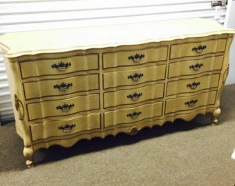 Vintage French Provincial 12 Drawer Long Dresser