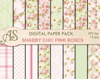 Digital Shabby Chic Pink Roses Paper Pack, 16 printable Digital Scrapbooking papers, retro roses Digital Collage, Instant Download, set 221