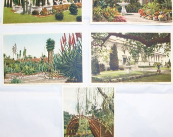 Vintage Set of Five (5) California Real Picture Postcards - Henry E. Huntington Library and Art Gallery, San Marino, California in 1939