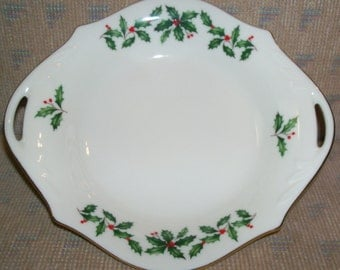 Vintage Lenox Holiday Fine China (Dimension shape) Gold Candy Dish Server with Cutout Handles- Holly and Berries Design