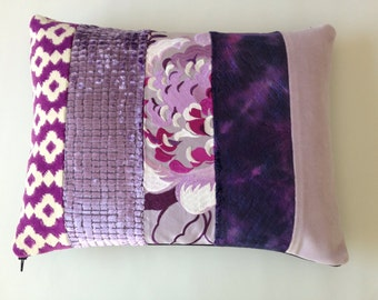 Patchwork Bolster Cushion Cover in Designers Guild Velvet Fabrics in Purples