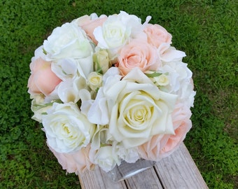 WHITE and PEACH Silk Wedding Bouquet with Real Touch Roses Peony Lisianthus Hydrangea Vintage Rustic
