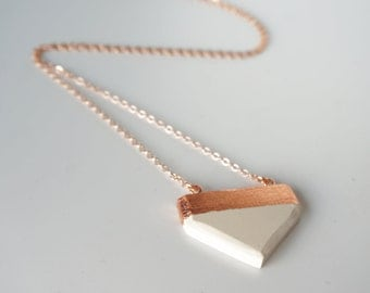 Rose Gold Arrow Necklace White Clay Pendant Chevron Pendant Rose Gold Chain Rose Gold Necklace 380mm 14 inch