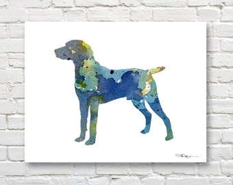 Blue Weimaraner Art Print - Abstract Watercolor Painting - Wall Decor