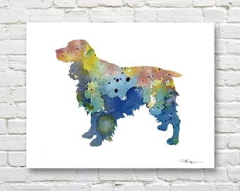 Blue Springer Spaniel Art Print - Abstract Watercolor Painting - Wall Decor