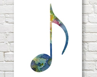 Blue Note Art Print - Abstract Watercolor Painting - Music Wall Decor