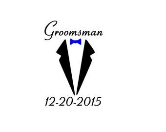 BULK 10 Decals Tuxedo Best man Groomsman Groom Vinyl decal for cups/bottles/shot glasses/flasks