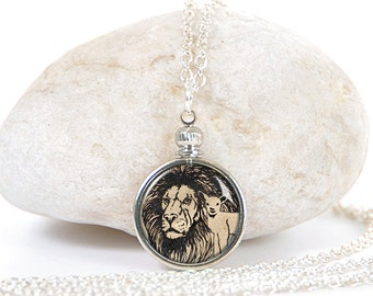 Necklace. Lion and Lamb. Christian Jewelry. Scripture Jewelry. Bible Verse Jewelry. Pendant Necklace. Lion Necklace. Pennyology