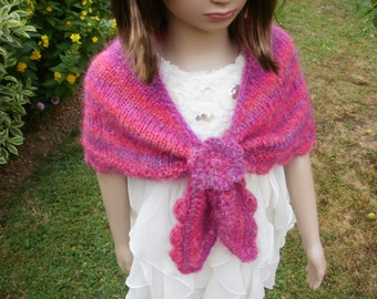 Bridesmaid's shawl, flower girl's shawl, bridesmaid's wrap, flower girl's wrap, bridesmaid's cape, girl's mohair shawl, girl's pink capelet.