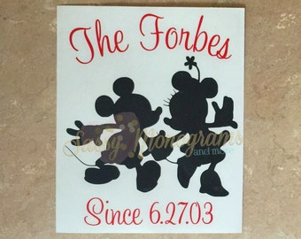 Personalized Mickey and Minnie Couple Since Custom Vinyl Decal
